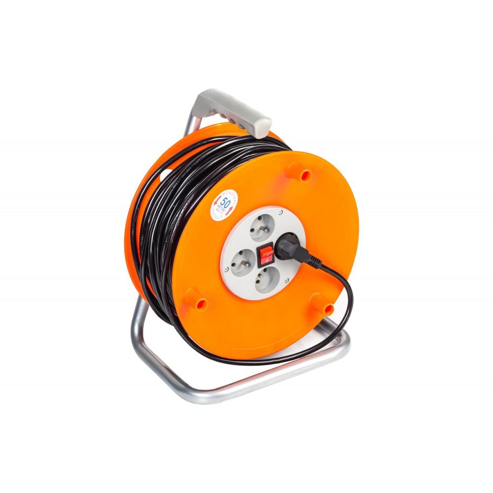 Prodlužovací kabel 3x1,5mm buben 50m, 4x zásuvka venkovní